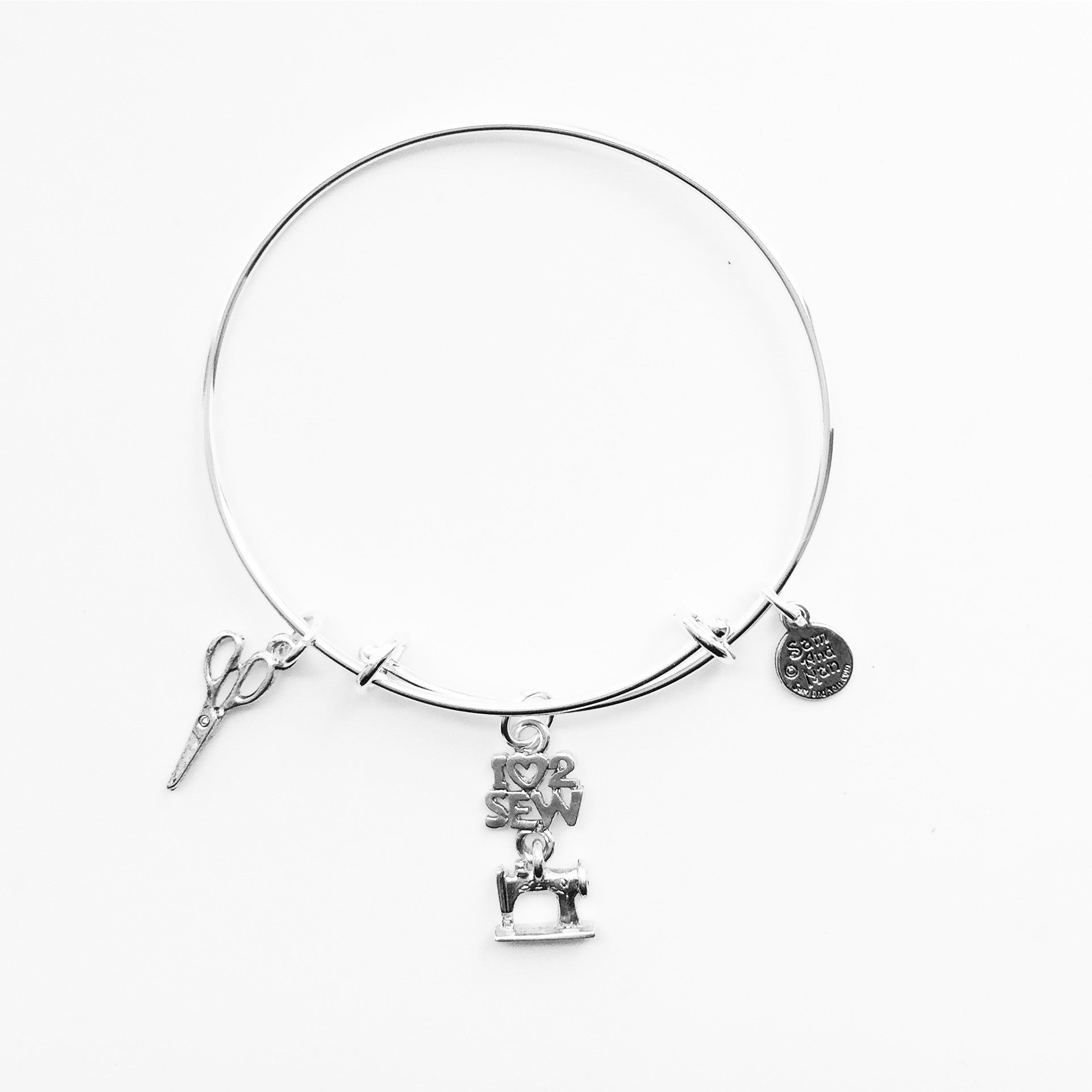 I Love 2 Sew Scissor Charm Silver Bangle Bracelet