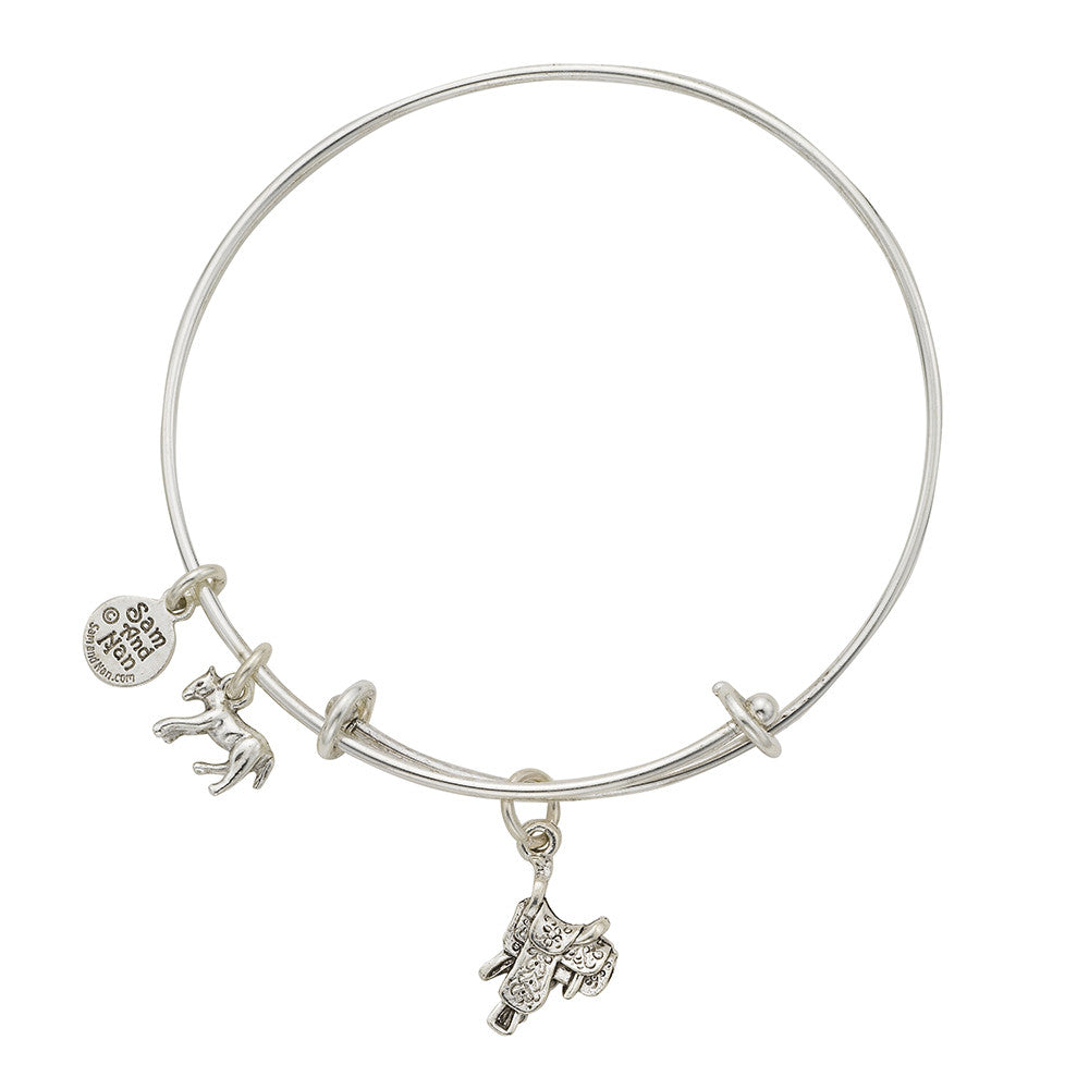 Saddle Charm Bangle Bracelet - SamandNan