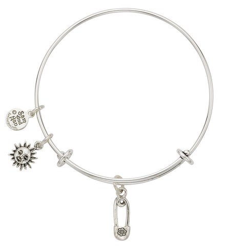 Safety Pin Sun Charm Bangle Bracelet - SamandNan
