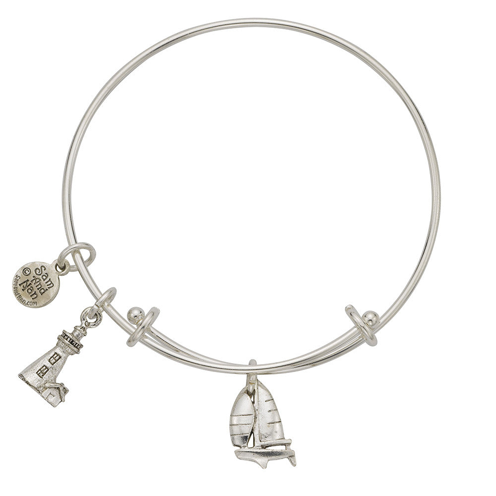 Sailboat Lighthouse Charm Bangle Bracelet - SamandNan
