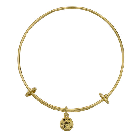 Expandable Gold Blank Bangle Bracelets. Medium or Large. Select Charms for Your Bracelet. - SamandNan