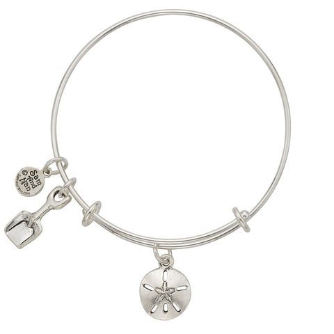 Sand Dollar Shovel Charm Bangle Bracelet - SamandNan