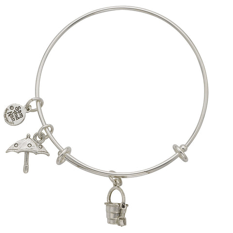 Sand Pail Umbrella Charm Bangle Bracelet - SamandNan