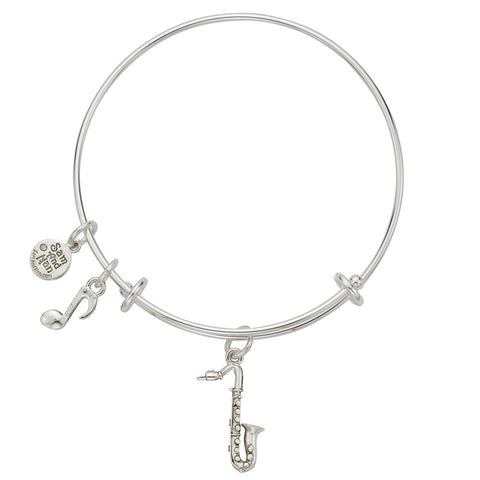 Saxophone Eighth Note Charm Bangle Bracelet - SamandNan