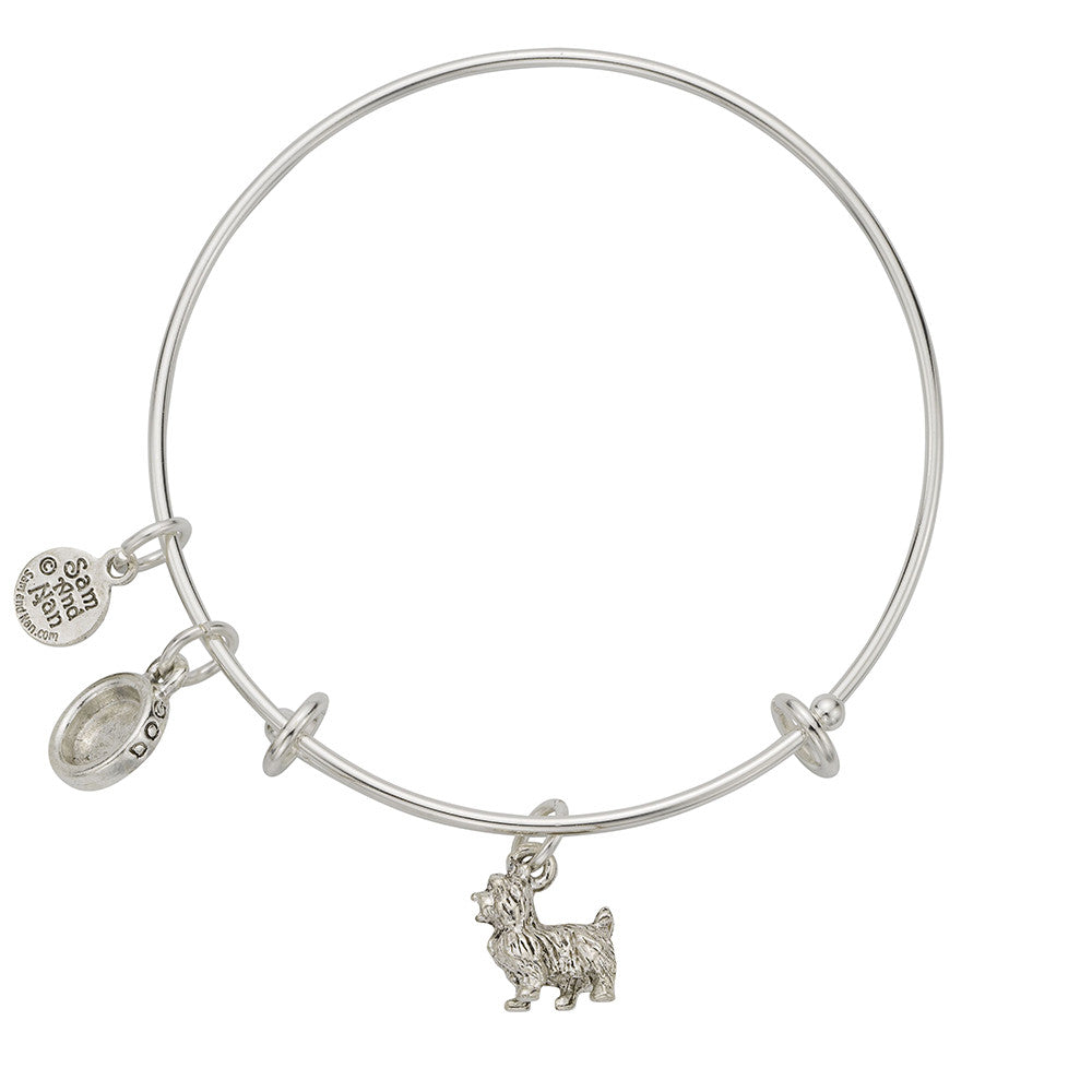Scottie Dog Bowl Charm Bangle Bracelet - SamandNan