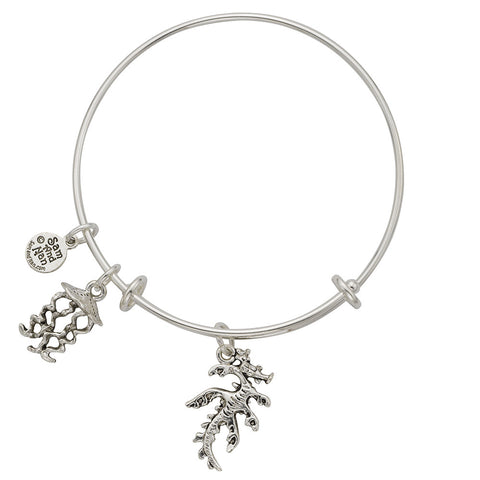 Australian Sea Dragon Jellyfish Charm Bangle Bracelet - SamandNan