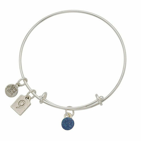 September Blue Birthstone Charms Bangle Bracelet - SamandNan