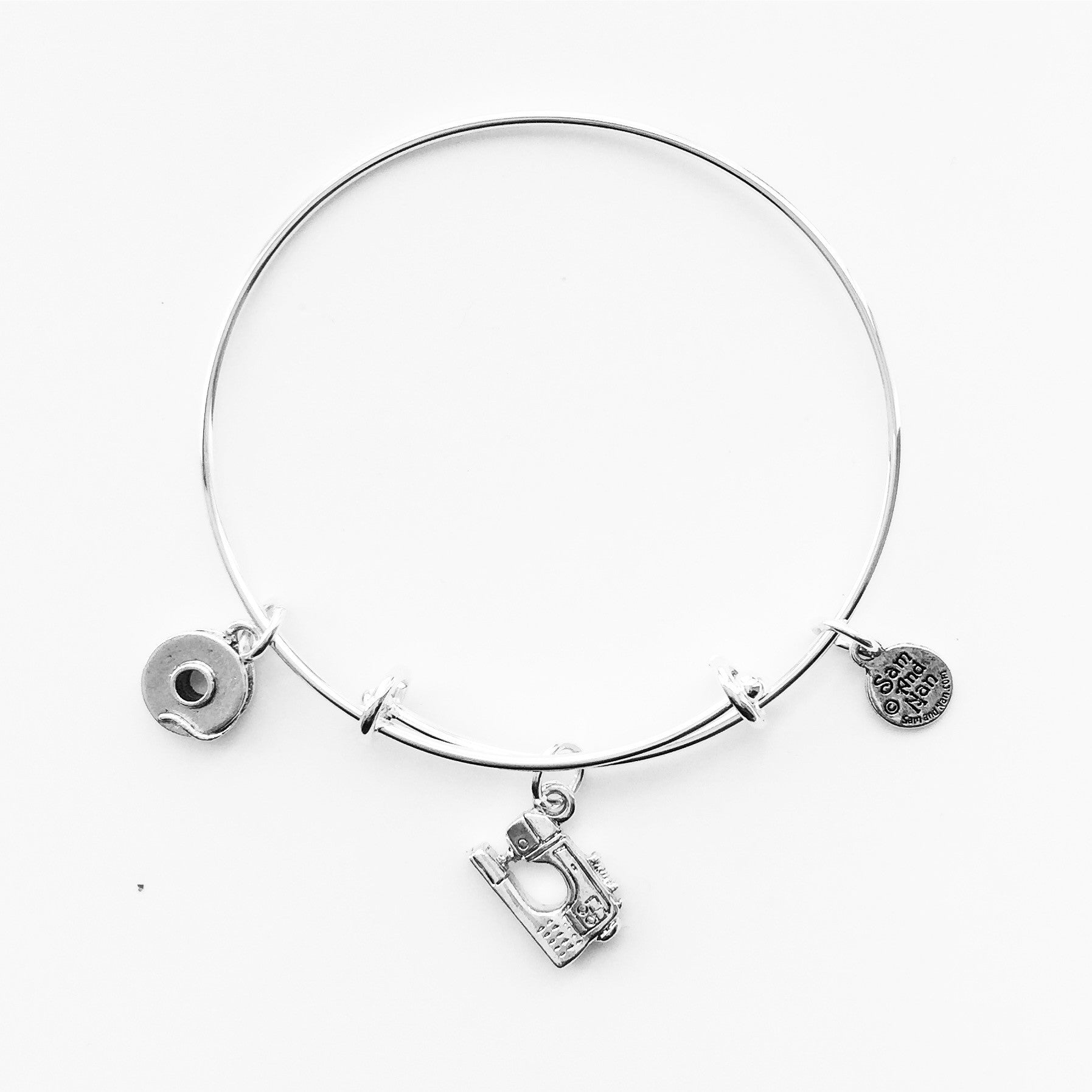 Sewing Machine Quilt Cutter Silver Charm Bangle Bracelet