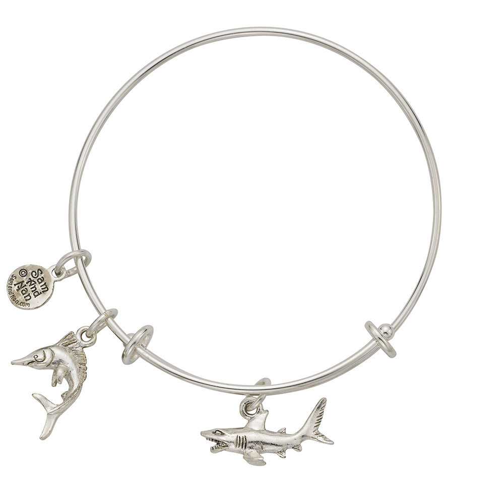 Shark Marlin Charm Bangle Bracelet - SamandNan