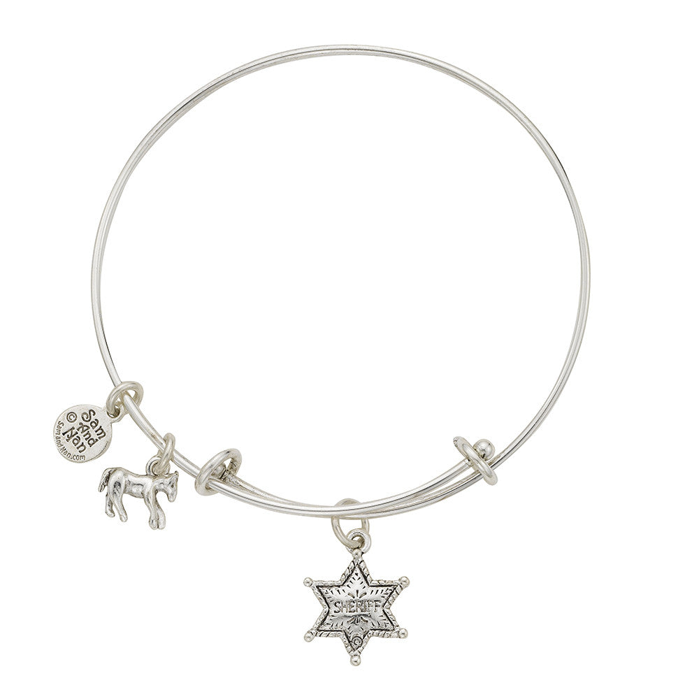 Sheriff Badge Charm Bangle Bracelet - SamandNan