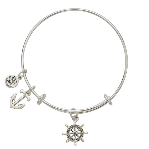 Ships Wheel Anchor Charm Bangle Bracelet - SamandNan