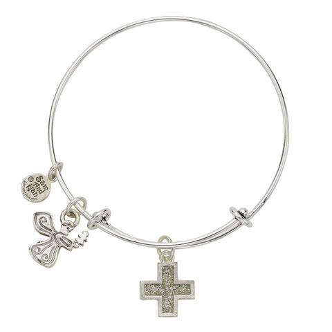 Angel Cross Charm Bangle Bracelet - SamandNan