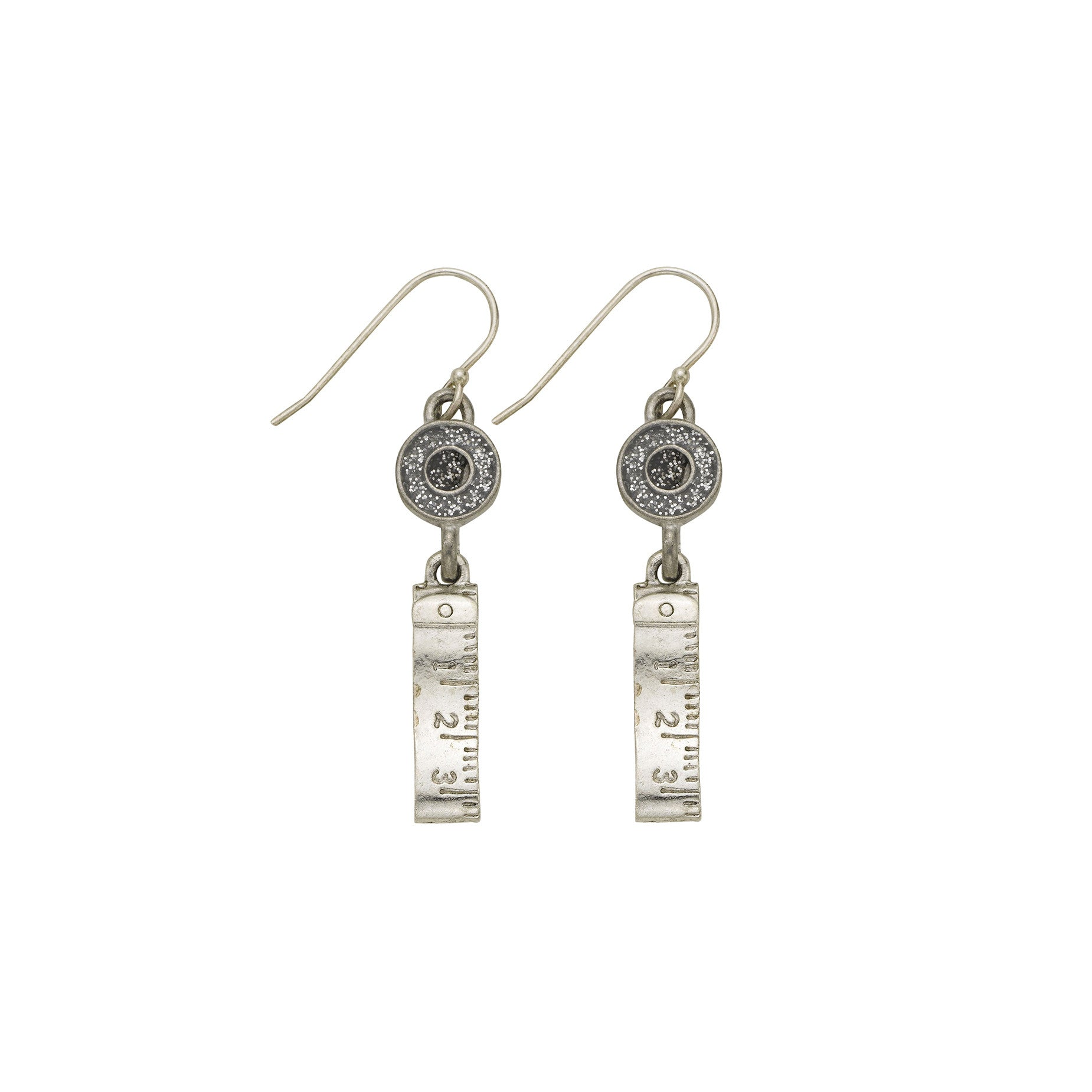 Silver Measure Tape Earrings - SamandNan