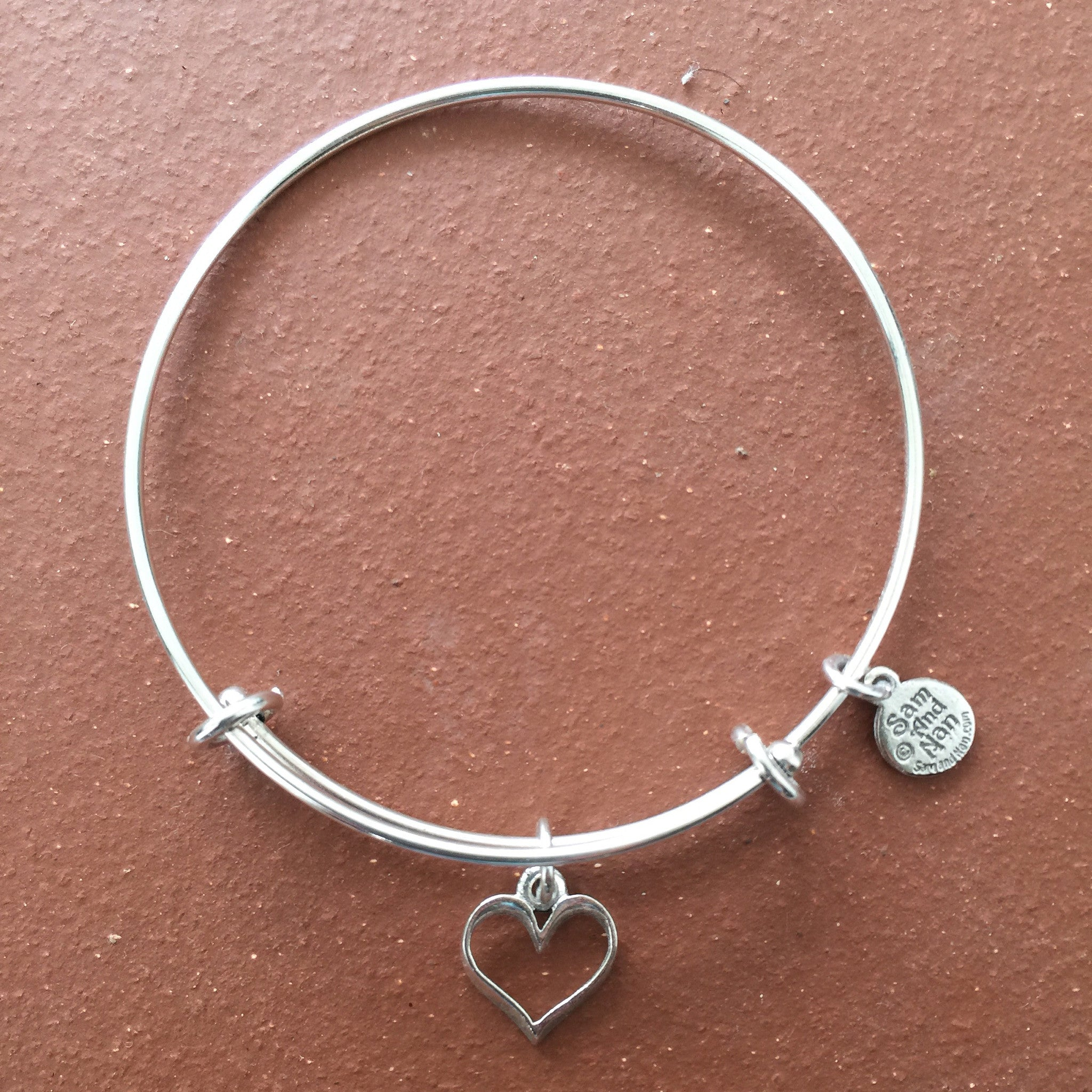 Silver Tubular Charm Heart Bangle Bracelet