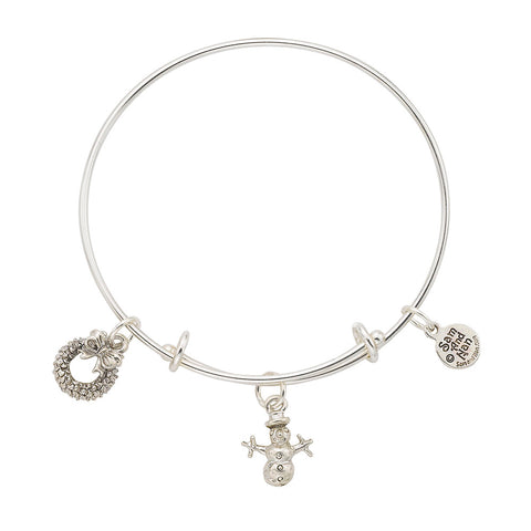 Snowman Wreath Bangle Bracelet - SamandNan