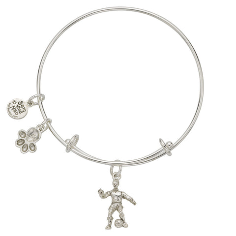 Soccer Player - Paw Charm Bangle Bracelet - SamandNan