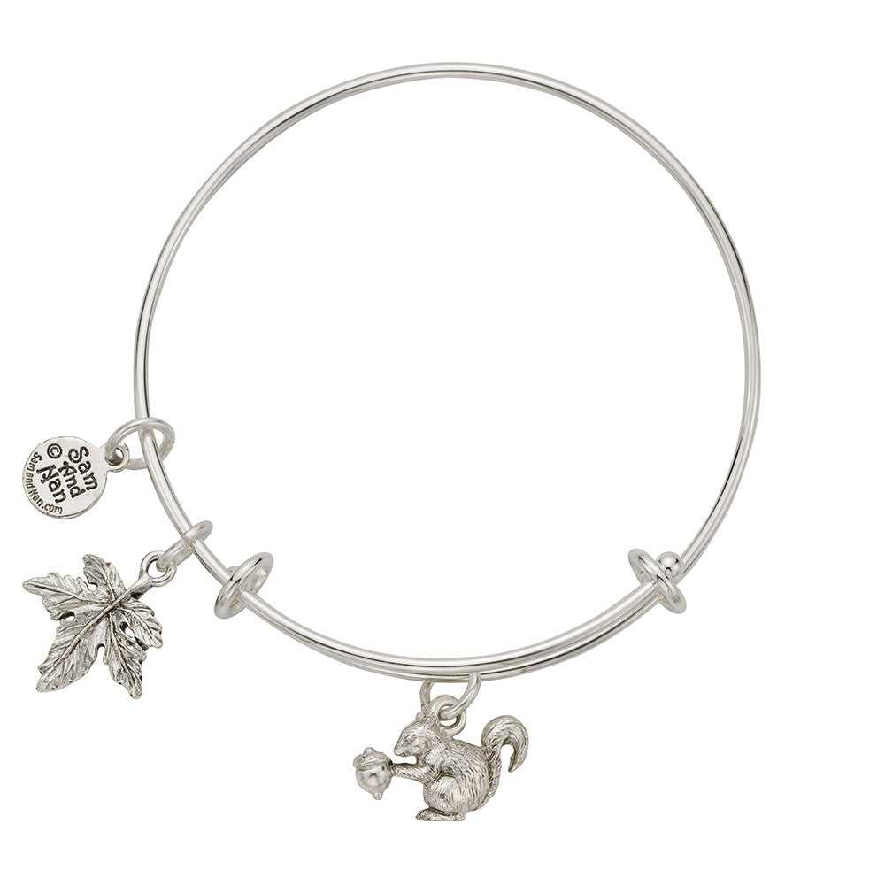Squirrel Maple Leaf Charm Bangle Bracelet - SamandNan