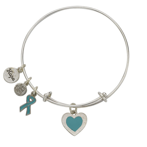 Ovarian Cancer Bangle Bracelet Teal - SamandNan