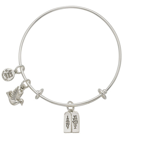 Ten Commandments Dove Charm Bangle Bracelet - SamandNan
