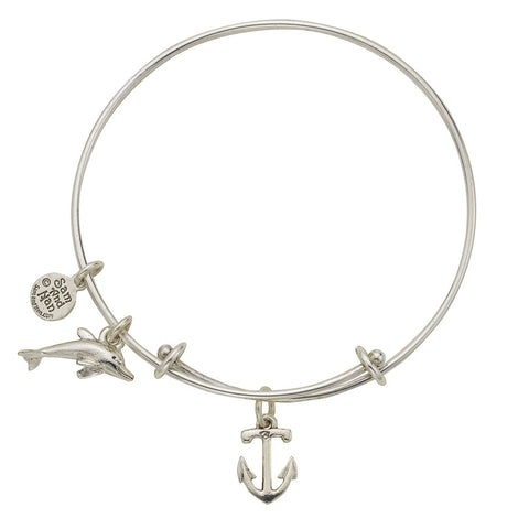 Anchor Dophin Bangle Bracelet - SamandNan