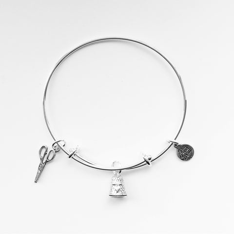 Thimble Scissor Silver Charm Bangle Bracelet