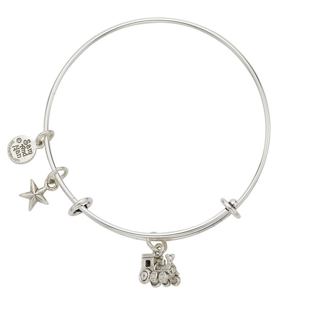 Train Star Charm Bangle Bracelet - SamandNan