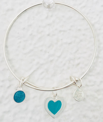 Valentine Turquoise Heart Bangle Bracelet