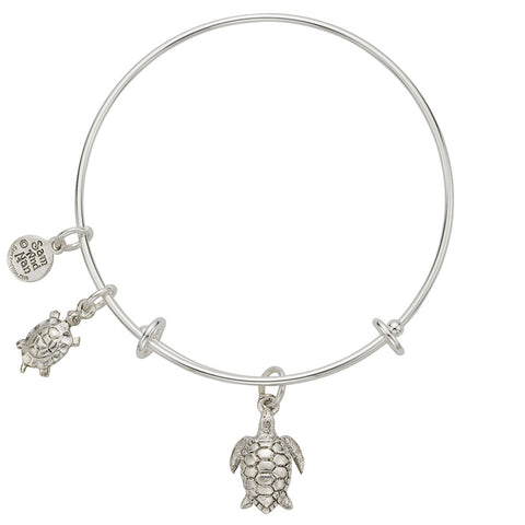 Sea Turtle Charm Bangle Bracelet - SamandNan