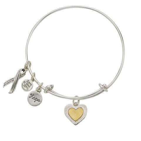 Heart Two Tone Bangle Bracelet - SamandNan