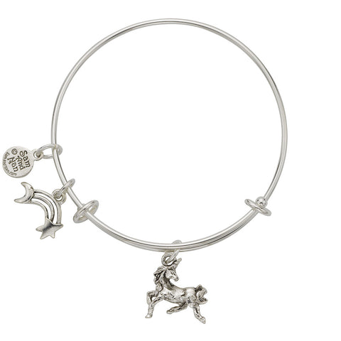 Unicorn Rainbow Charm Bangle Bracelet - SamandNan