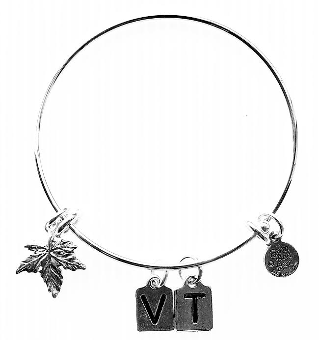 Vermont Initials Maple Leaf Bangle Bracelet