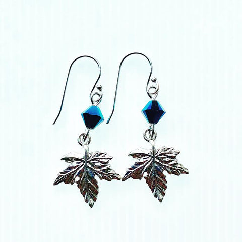 Maple Leaf Vermont Earrings with Blue Swarovski Crystals