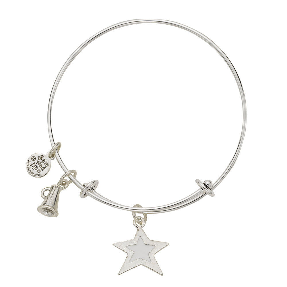 White Star Megaphone Bangle Bracelet - SamandNan