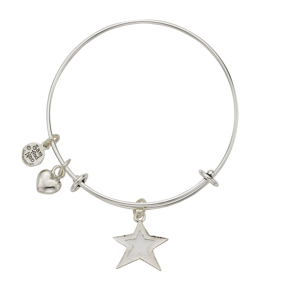 White Star Puff Heart Bangle Bracelet - SamandNan