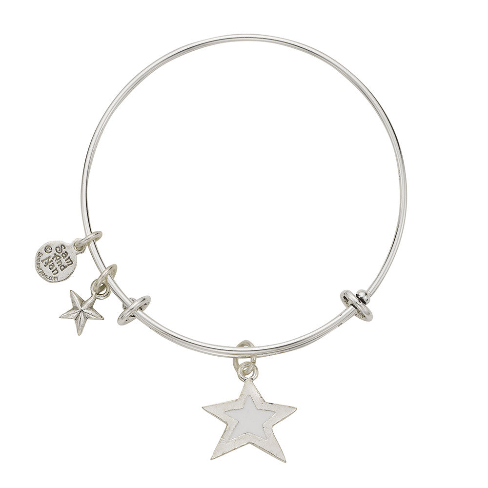 White Star Puff Star Bangle Bracelet - SamandNan