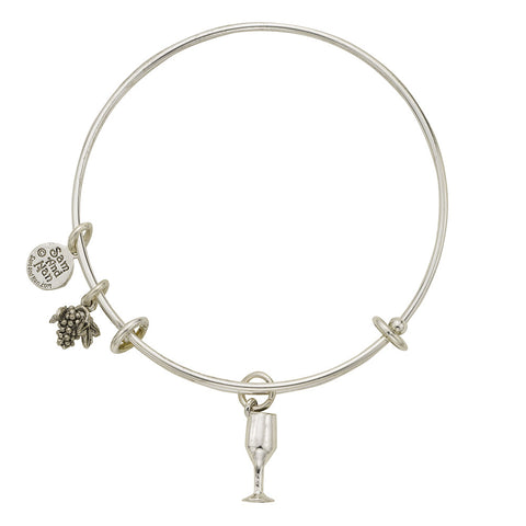 Wines Glass Grapes Charm Bangle Bracelet - SamandNan - 1