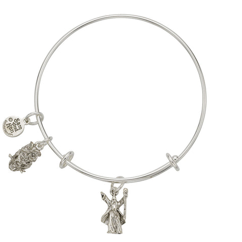 Wizard Owl Charm Bangle Bracelet - SamandNan