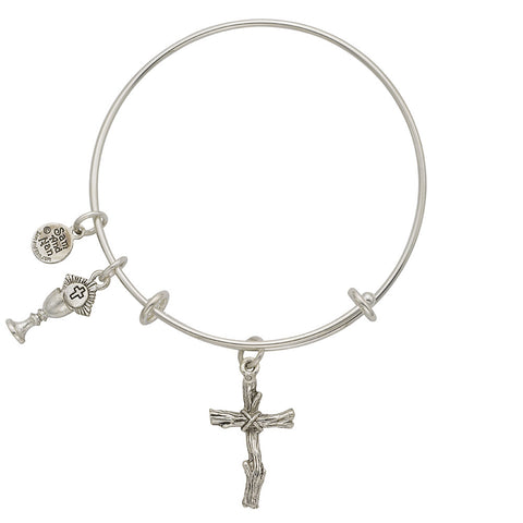 Wooden Cross Chalice Charm Bangle Bracelet - SamandNan