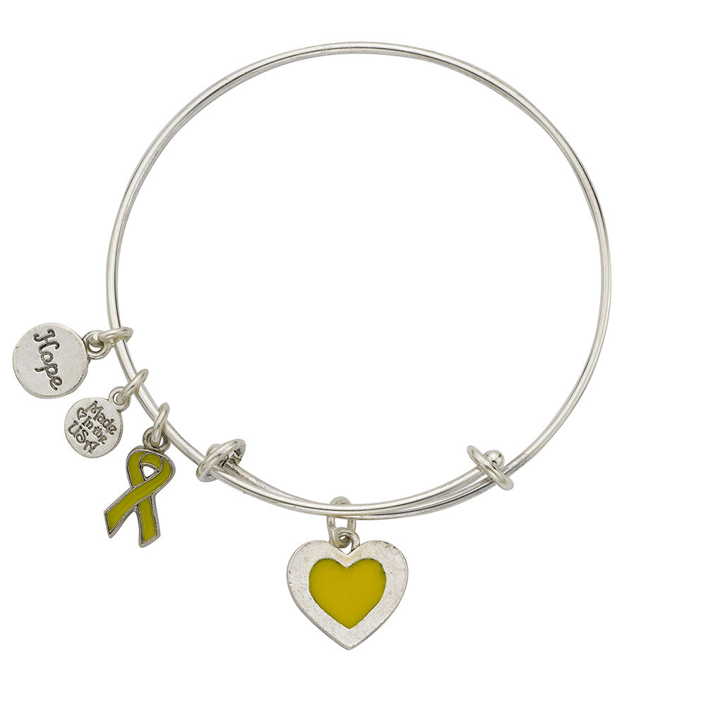 Sarcoma Bone Bladder Cancer Bangle Bracelet Yellow - SamandNan