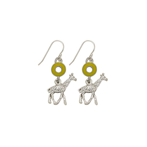 Yellow Open Cup Giraffe Earrings - SamandNan