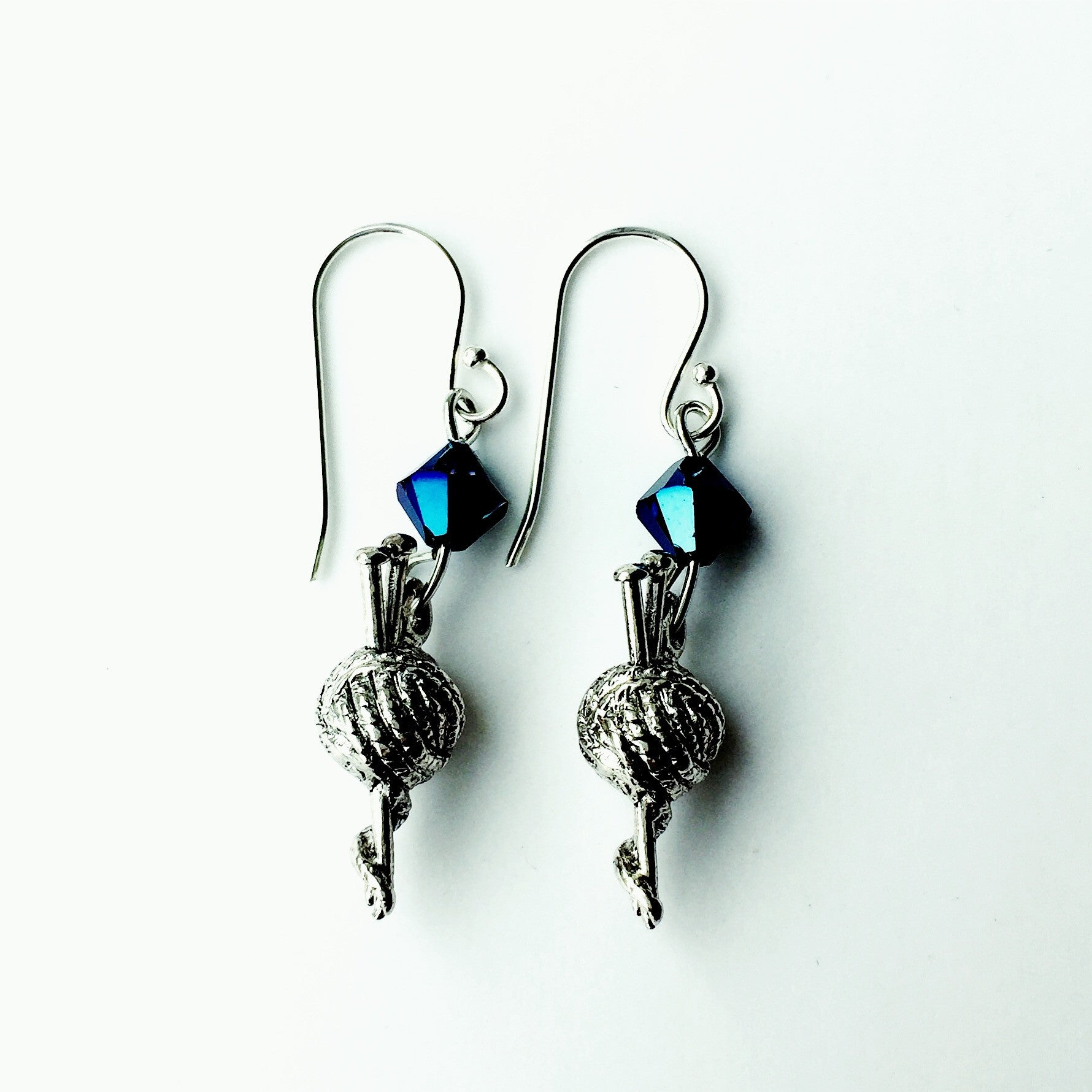 ____ Ball of Thread Silver Earrings with Blue Swarovski Crystals.