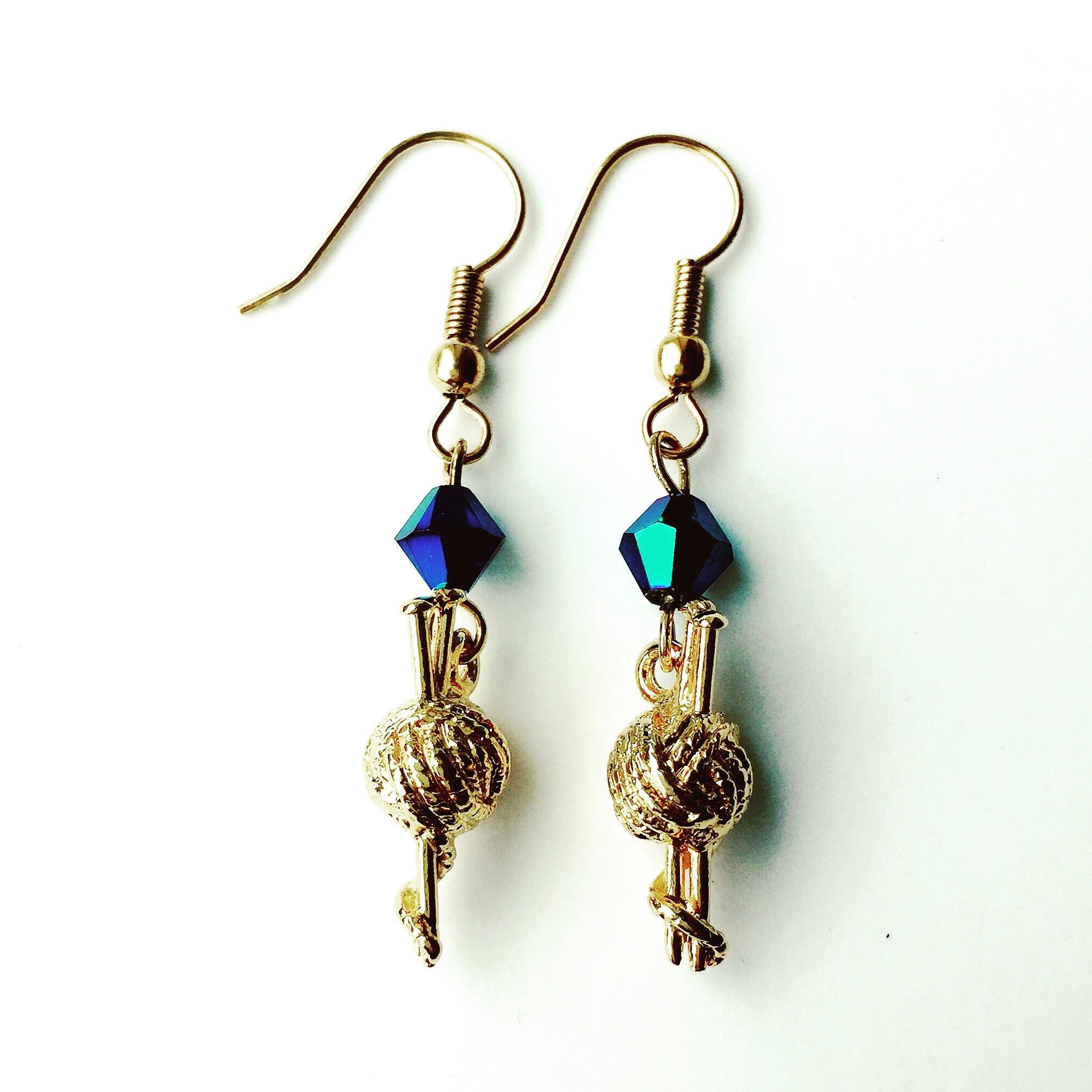 ____ Ball of Thread Gold Earrings with Blue Swarovski Crystals
