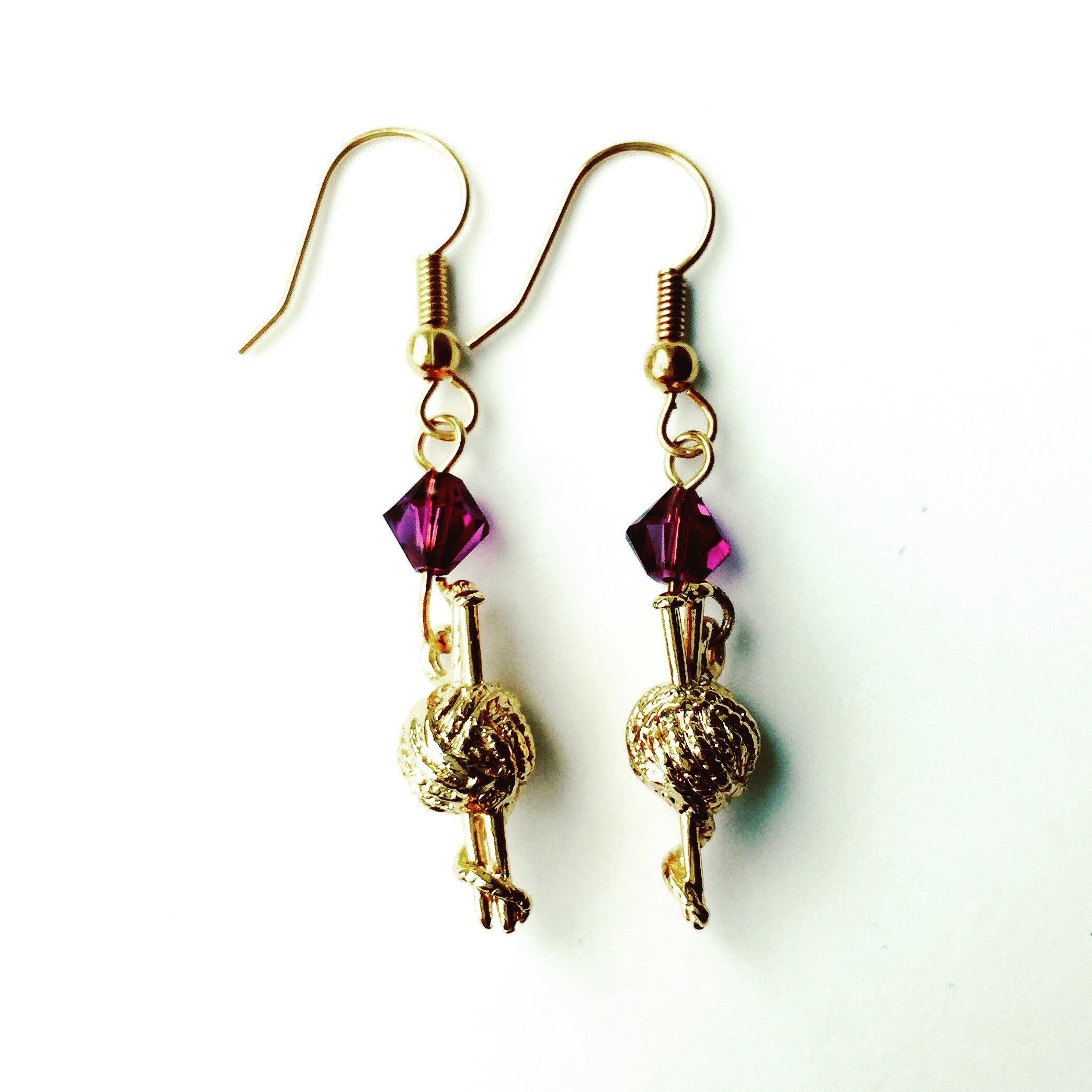 ____ Ball of Thread Gold Earrings with Purple Swarovski Crystals
