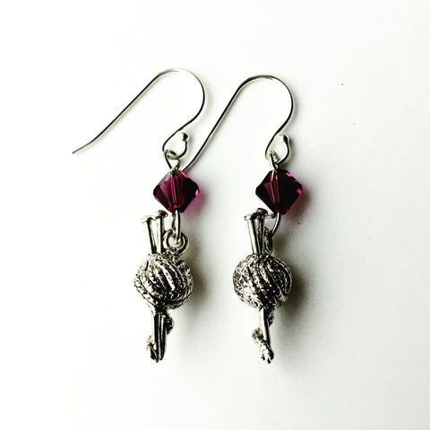 ____ Ball of Thread Silver Earrings with Purple Swarovski Crystals.