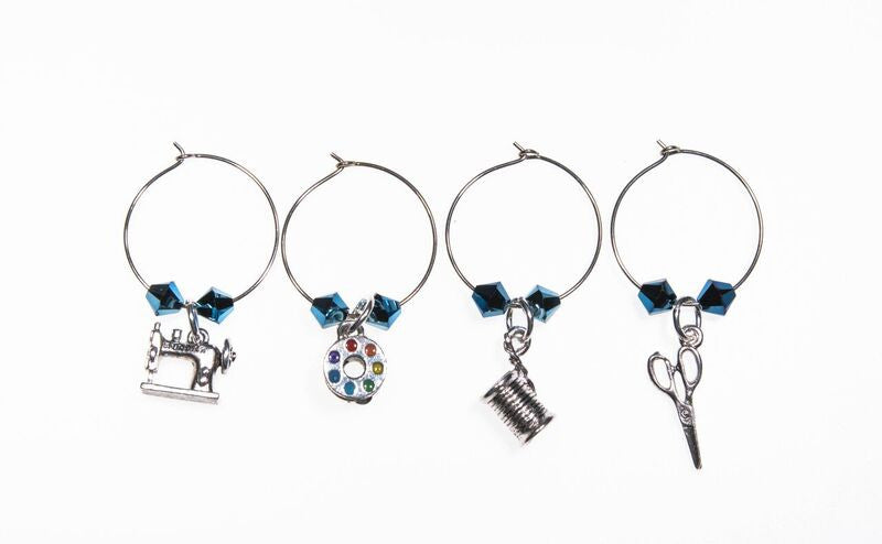 Quilt Wine Charms and Scissor Fobs with Blue Swarovski Crystals