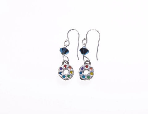 Blue Painted Bobbin Silver Earrings with Blue Swarovski Crystals.