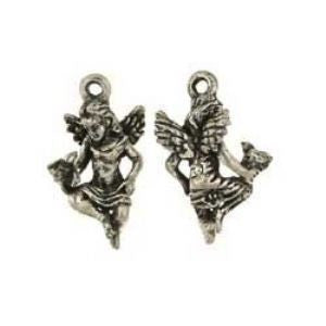 Sitting Winged Angel with Baby Bird Charm - SamandNan