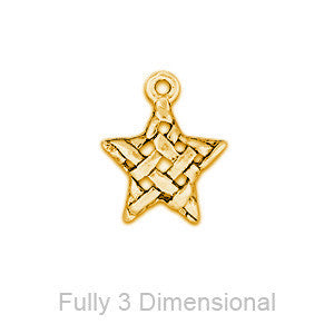 Blanket Weave Star Plated Gold Charms - SamandNan