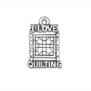 I Love Quilting Saying Charm - SamandNan