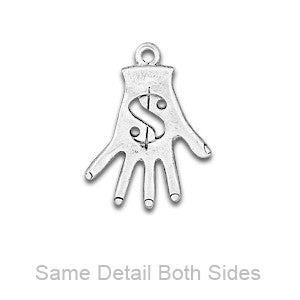 Engraved Dollar Hand Charm w Jumpring. Sterling Silver Finish USA Made-C939S - SamandNan